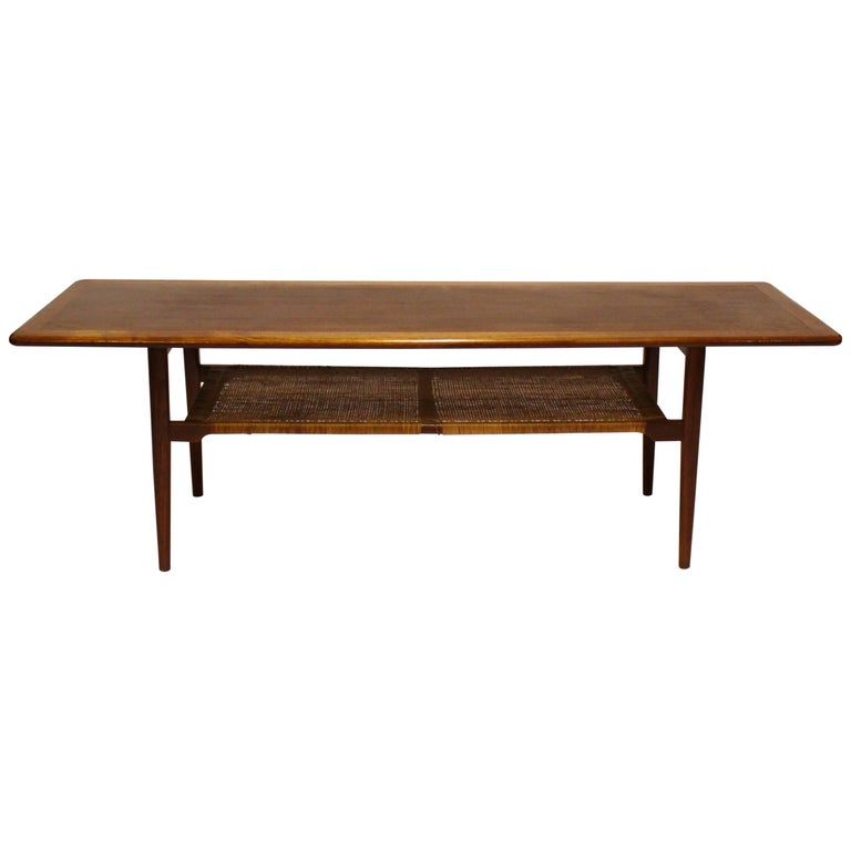 Coffee Table in Teak with Paper Cord Shelf of Danish Design, 1960s