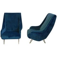 Pair of I.S.A. Bergamo Midcentury Blue Velvet Italian Armchairs, 1950s