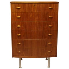 Chest with Six Drawers in Teak and Oak Designed by Kai Kristiansen, 1960s