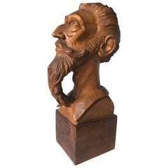 Good Size Midcentury, Quality Carved Beechwood Don Quixote Bust Sculpture