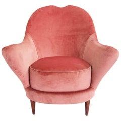 Feminine Pale Rose Velvet Armchair