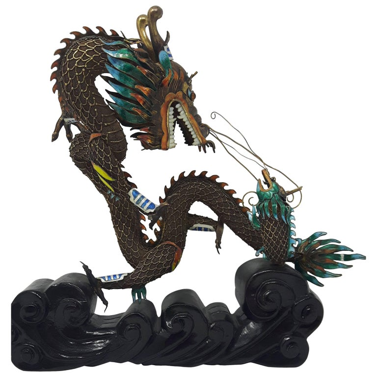 Silver-Gilt Filigree and Enamel Dragon