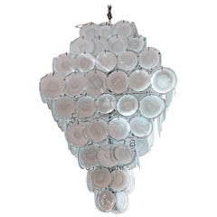 Gino Vistosi, White Murano Chandelier, Colored Glass, circa 1970, Italy