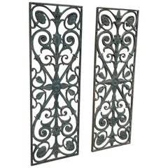 Pair of Art Nouveau Cast Iron French Door Gate, circa 1900