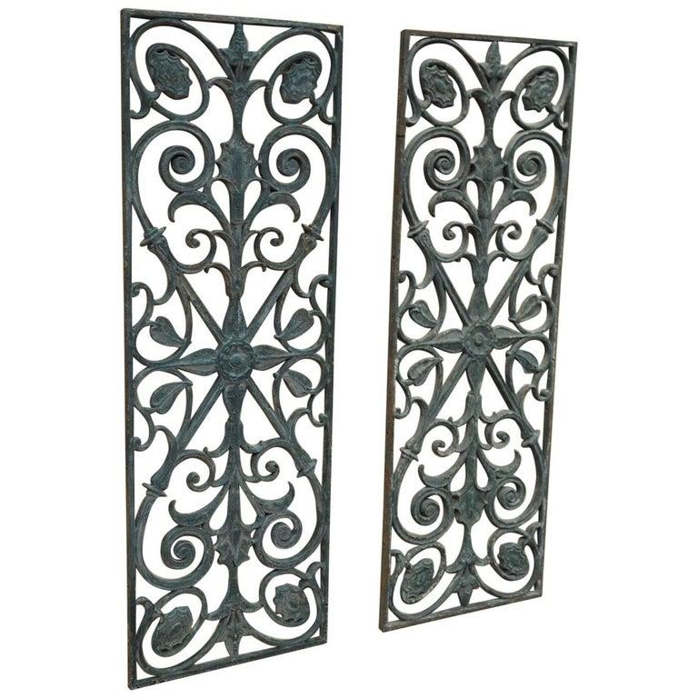 Pair of Art Nouveau Cast Iron French Door Gate, circa 1900