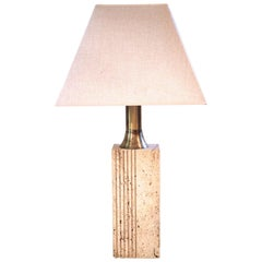 Fratelli Mannelli, Table Lamp, Travertine and Golden Brass, Italy, circa 1970