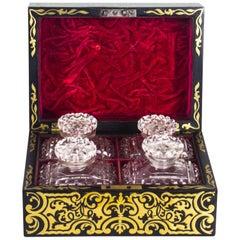 19th Century French Ebonised Cut Brass Boulle Perfume Bottle Box