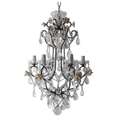 1920 French Elegant Crystal Prisms and Swags with White Roses Chandelier