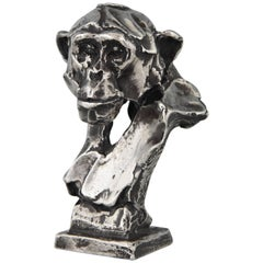 Sterling Silver Sculpture of a Chimpanzee Monkey by Erwin Peeters