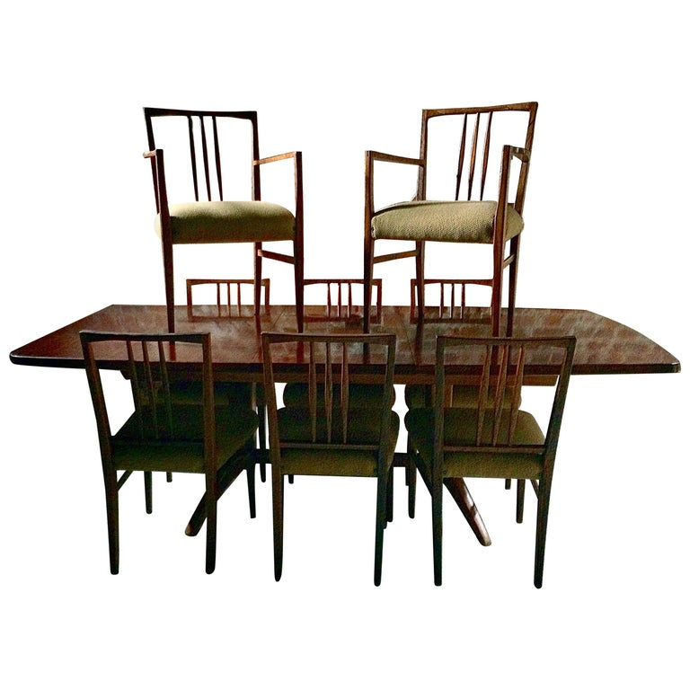 Gordon Russell Dining Table & Eight Chairs Rosewood Burford R818 Extending Cites