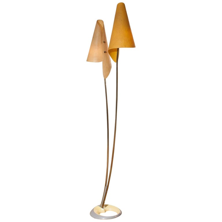1960s, Fibreglass Two Shades Floor Lamp, Germany For Sale