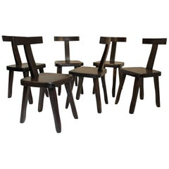"Set of Six Dark Brown Walnut ""T"" Chairs by Olavi Hänninen"