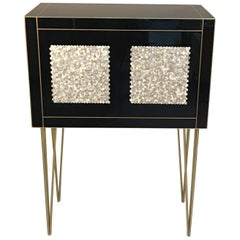 Handmade Mirrored Bar Cabinet on Stand in Murano Glass and Brass Inlay