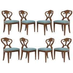 Set of Eight Hollywood Regency Shell Back Dining Chairs, Leather Seats