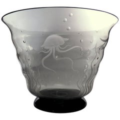 Handblown Murano Engraved Glass Bowl by Gino Francesconi 'S.A.L.I.R.' Dated 1939