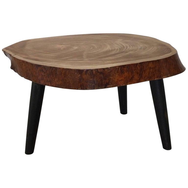 Midcentury Wood Tripod Trunk Table, Carl Auböck Style