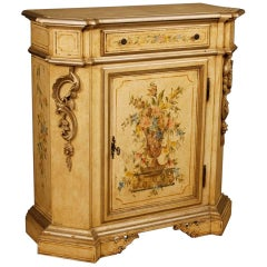 Italian Sideboard in Lacquered and Painted Wood with Floral Decorations