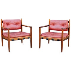 Pair of 1960s Ire Mobler Skillingaryd Leather and Rosewood Upholstered Swedish
