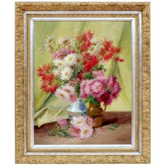 Oil on Canvas Bouquets of Flowers Signed Godchaux, circa 1900