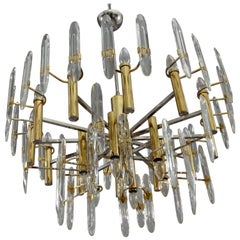 Huge Italian Midcentury Sciolari Eighteen-Light Brass and Crystal Chandelier