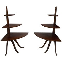 Pair of French Oak Corner Shelves on Tripod from 1940s