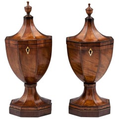 Pair of Georgian Satin Harewood Urn Tea Caddies, 19th Century
