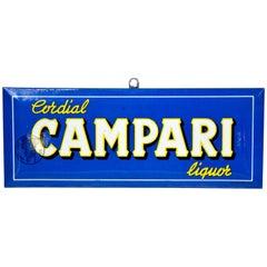 1960s Rare Vintage Italian Blue Cordial Campari Sign