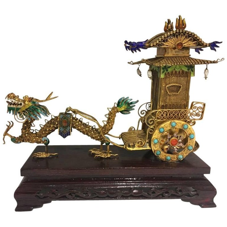 Stunning Late 19th Century, Chinese Silver Gilded Filigree Work with Enamel