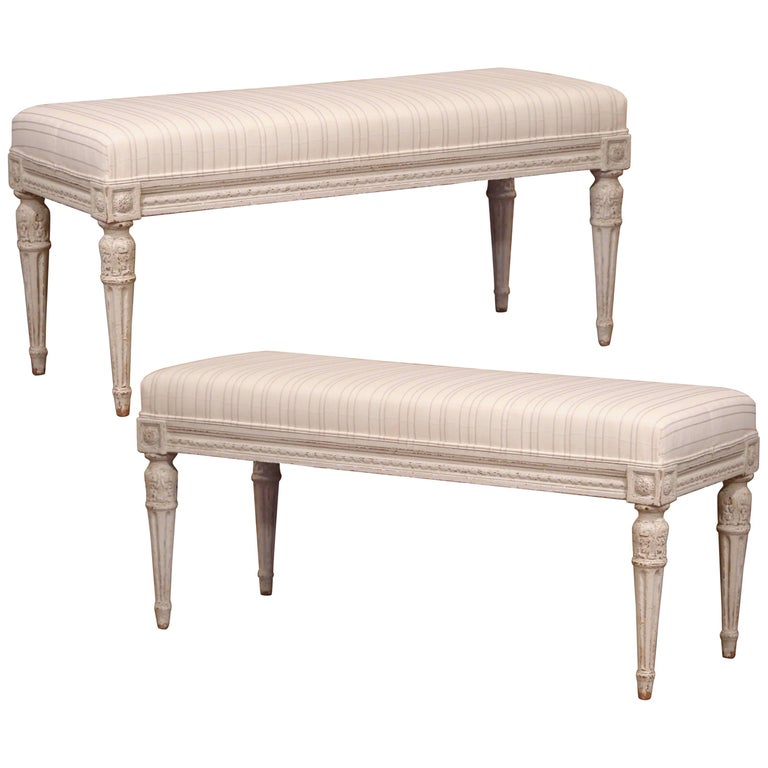 Pair of 19th Century French Louis XVI Painted Benches with Stripe Beige Toile
