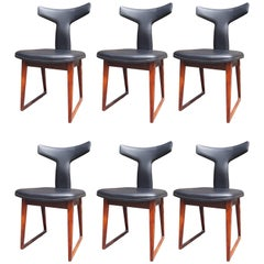 Set of Six Leather and Rosewood Dining Chairs by Arne Vodder for Sibast