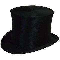 Antique Plush Silk Medium Size Top Hat with Original Hatbox