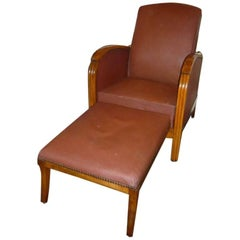 Italian Adjustable Oak Armchairs with Ottoman and Faux Leather Cover from 1940s