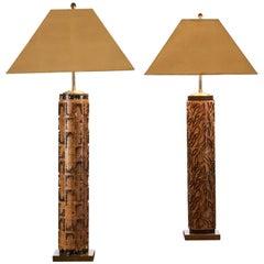 Pair of Antique Wallpaper Roller Lamps