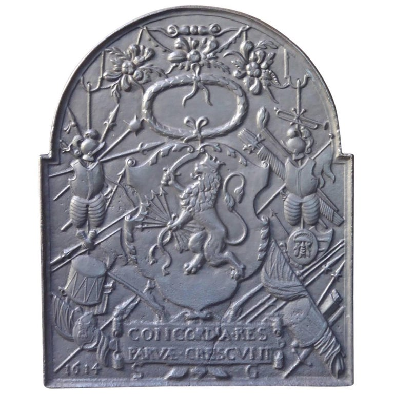 17th Century Dutch Louis XIV 'Coat of Arms' Fireback
