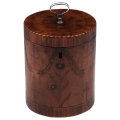 Georgian Cylindrical Satinwood Boxwood Ebony Silver Tea Caddy 18th Century