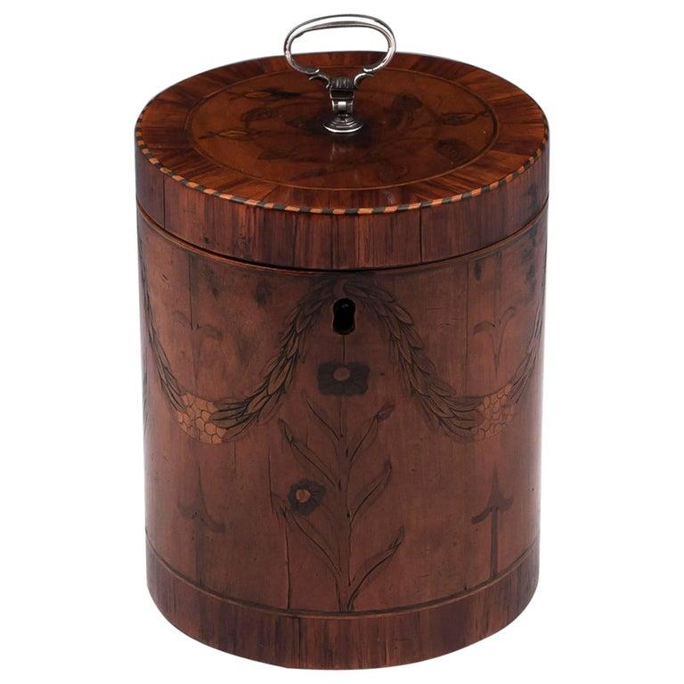 Georgian Cylindrical Satinwood Boxwood Ebony Silver Tea Caddy 18th Century