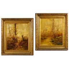 Pair of French Signed Landscape Paintings Oil on Canvas from 19th Century