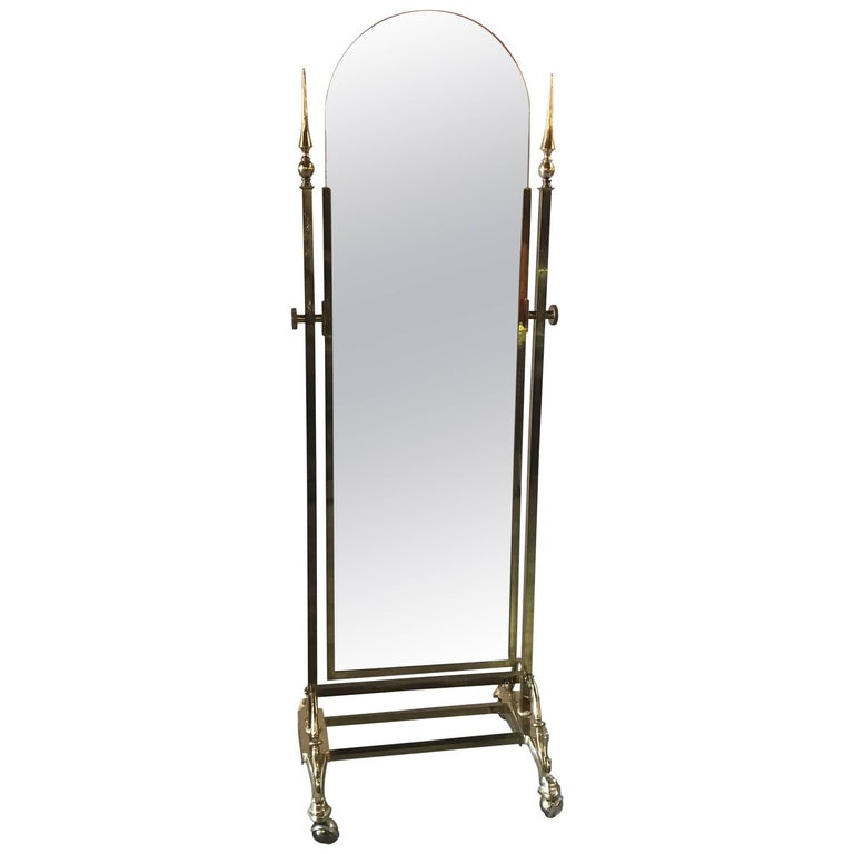 Brass Cheval Mirror by Glo-Mar NYC