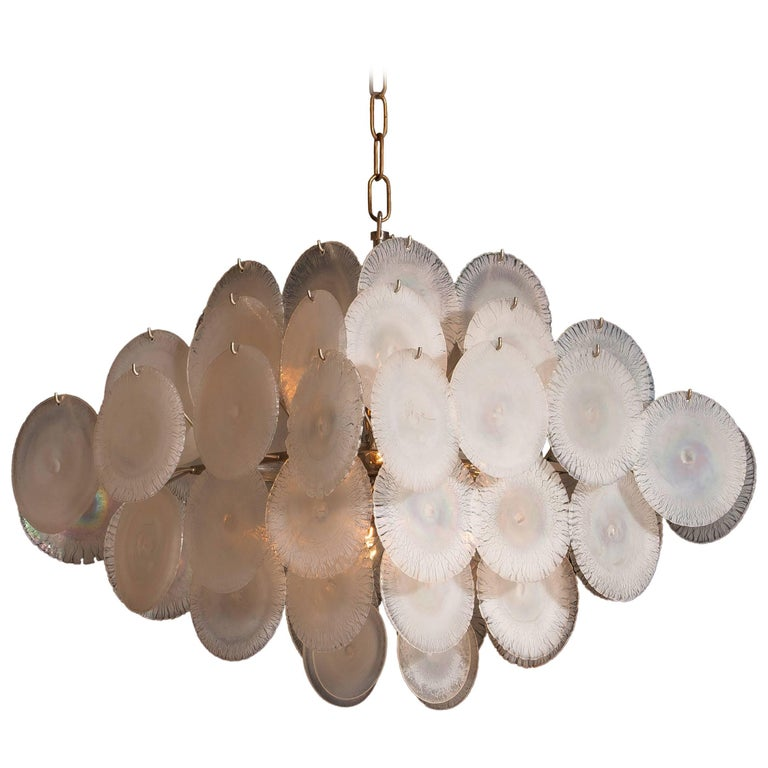 Gino Vistosi Chandelier with 60 Handmade Murano White/Pearl Colored Crystals For Sale