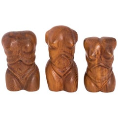 Carved Wooden Torso Set