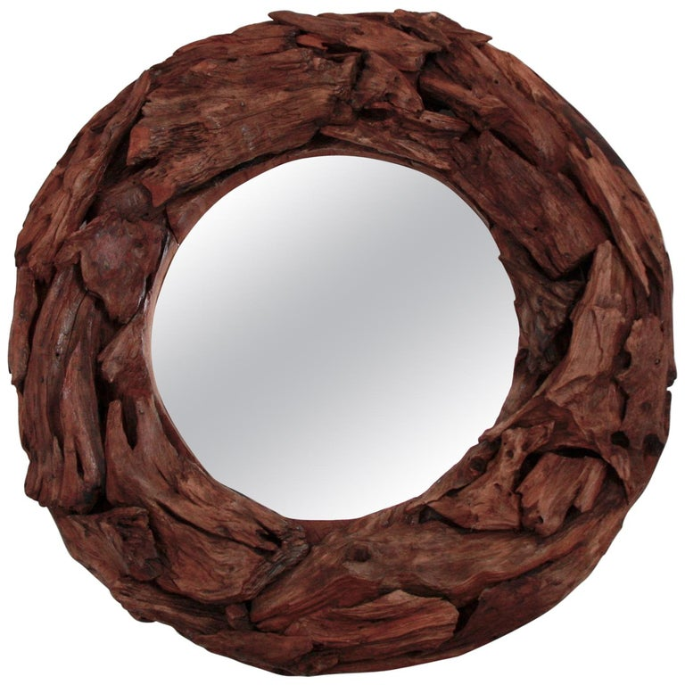 Vintage Italian Round Mirror In Floating Wood Circa 1960 For