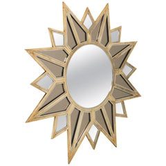 Big Italian Vintage Mirror in Brass by Romeo Rega, circa 1970