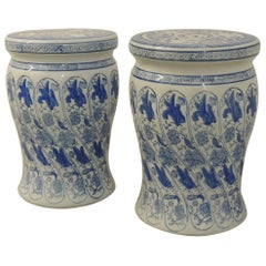 Pair of Blue and White Hand-Painted Ceramic Garden Vintage Stools