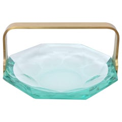 Faceted Glass Dish by Max Ingrand for Fontana Arte, circa 1960