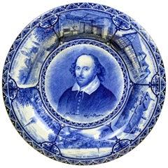 1904 Blue and White Transferware Samuel Hancock W. Shakespeare Souvenir Plate