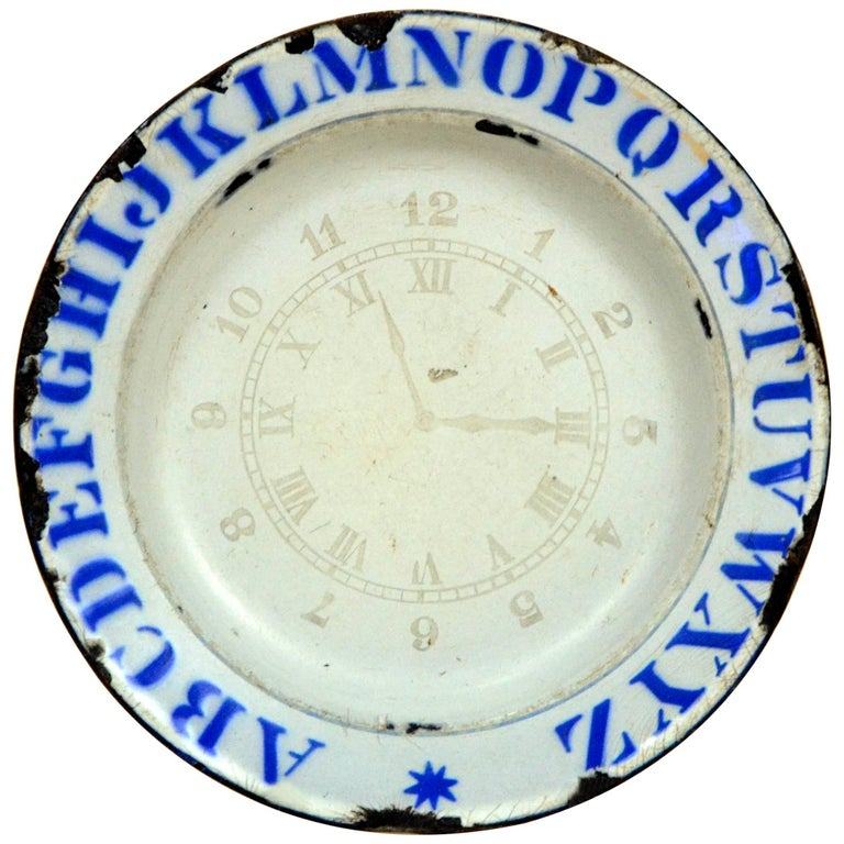 1890s Vintage English Enamel Ware ABC Plate with Clock and Numbers