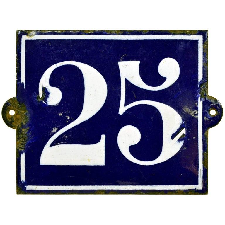 1930s Vintage Dark Blue French Enamel Metal Street Number 25 Sign