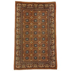 20th Century Hotan Chinese Hand Knotted Rug Stylized Rosette Gul Brown Geometric