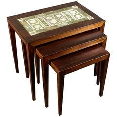 Severin Hansen Rosewood Nesting Tables, 1960s, Royal Copenhagen Tiles