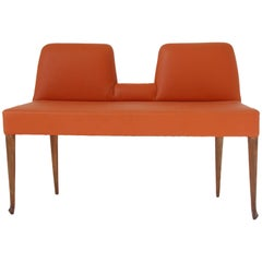 Vintage Italian Orange Leather Bench with Low Back, circa 1960